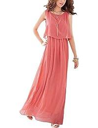 JXLOULAN Mujeres Boho maxi vestido de la gasa semitransparente vestido sin mangas larga plisada