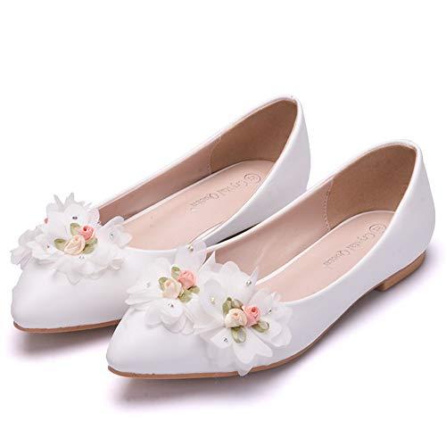 JRYYUE Damen Brautschuhe Lace PU Hochzeit Schuhe Tanzschuhe Braut Brautjungfern Wohnungen Low Heel Pumpe,White,39 (Brautjungfern Schuhe Wohnungen)