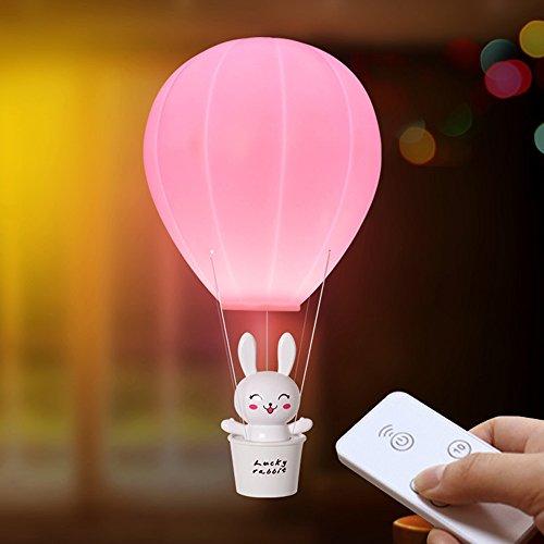 EgoEra Kinder Nachtlicht, reg; Heißluft Ballon LED Nachtlicht USB Wiederaufladbar Dimmbare Romantische Kinderzimmer Lampe mit Fernbedienung, für Baby, Kinder, Rosa