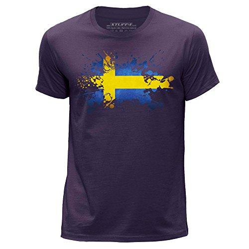 STUFF4 Herren/XXX Groß (3XL)/Lila/Rundhals T-Shirt/Schweden/Schwedische Flagge Splat