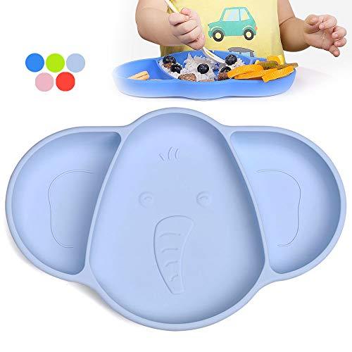 Baby Teller mit Saugnapf Silikon, iKiKin Kinderteller Rutschfest, Rutschfester Teller Baby, BPA-freier, für Baby Kleinkinder und Kinder, Spülmaschine und Mikrowelle sicher (Himmelblau)
