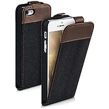 kwmobile Funda para Apple iPhone SE / 5 / 5S - Flip Case para móvil en cuero sintético y tela - Cover plegable antracita marrón