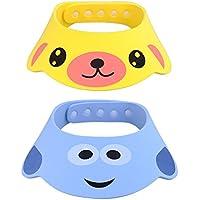 Bebé champú baño ducha sombrero, 2unidades ajustable gorro de natación protección pelo lavado Shield Yellow + Blue