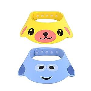 GZQES 2 pcs Gorro de Ducha para Bebés, Sombreros para Lavarse el Cabello para Bebe,Ajustable Gorro para Ducha del Baño 5