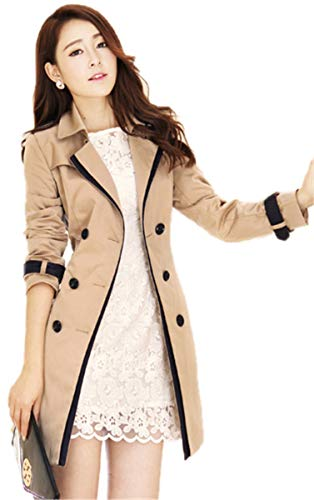 LCXYYY Women's Tailored Stylish Double Breasted Trench Coats Rain Jacket Outdoor Waterproof Pure Colour Long Coat Black Khaki Overcoat Windproof Waterfall Coat with Belt Slim Fit Coats for Women -