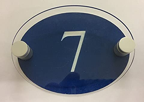 PRESTIGE STAND OFF OVAL HOUSE SIGN PLAQUE DOOR NUMBER STREET MODERN CONTEMPORARY NEW BUILD (BLUE)