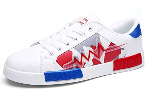 Men's Comfortable Outdoor Athletic Skateboarding Shoes White Red