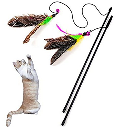 lameida Frenzy Cat Toys Feder Zauberstab, interaktives Spielzeug für Lovely Cat Bell, 1 PCS (Frenzy Cat)