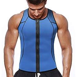 NOVECASA Chaleco Sauna con Cremallera Hombre Sauna Vest Zipper Compresion de Neopreno Modelador Camiseta Reductora para Adelgazante Sudoración Musculación (2XL(Cintura 100-106CM), Chaleco Azul)