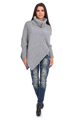 futuro Fashion femmes Lourds épais poncho tricoté garde au chaud Pull-over Col roulé pull avec Boutons Acrylique PULL TAILLE 8-14 fas9x Cendre