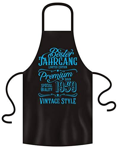 Schürze mit Geburtstagsurkunde Geschenk zum 60 Geburtstag Bester Jahrgang 1959 Männer & Frauen Cooles Design Grillschürze Farbe: schwarz