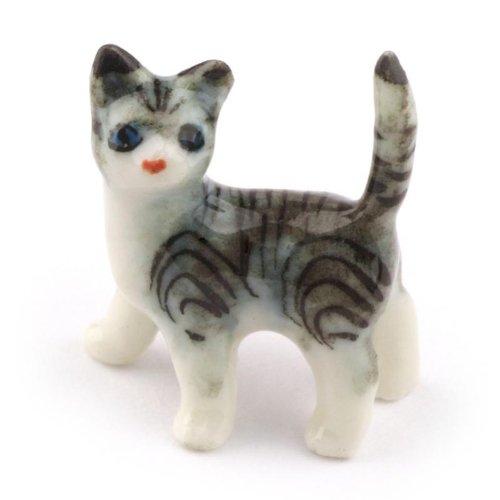 MyTinyWorld Maison De Poupées Miniature Céramique gris et blanc chat tigré