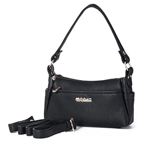Borse a Mano Donna Piccola Borsa a Spalla Borsetta a Tracolla Crossbody Messenger Bag in Pelle con Molte Tasche + Katloo Tagliaunghie(Nero)
