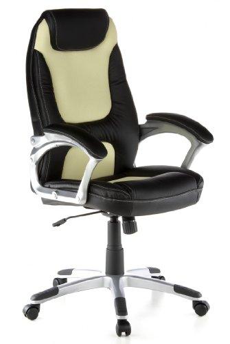 hjh OFFICE Buerostuhl24 621350 Bürostuhl/Chefsessel Racer 100 PU-Leder, schwarz/beige