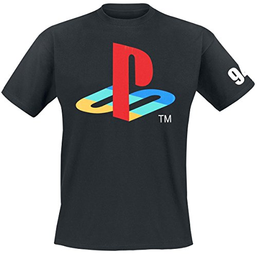 meroncourt-sony-playstation-classic-logo-and-colours-camiseta-para-hombre-negro-black-x-large