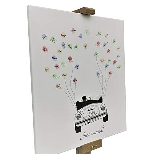 KATINGA Leinwand zur Hochzeit - Motiv Auto (weiß) mit Spruch Just Married! - als Gästebuch für Fingerabdrücke (40x50cm) (weiß)