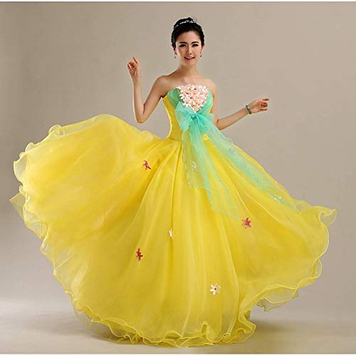QAQBDBCKL gelb Bowknot Belle Prinzessin Tanz mittelalterliches Kleidmittelalterliche RenaissanceKleid königin kostümVictoria (Victoria Tanz Und Kostüm)