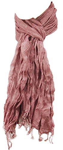 Preisvergleich Produktbild P.M. Schals Herren Crinkle Schal rot weiss 100% Baumwolle