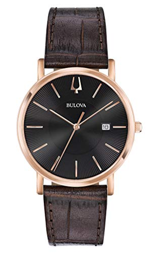 Bulova Herren Analog Quarz Uhr mit Leder Armband 97B165