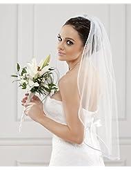 Schlichter Brautschleier Schleier mit Satinkante, einstufig Feintüll