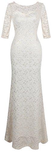 Angel-fashions Damen V-Ausschnitt Paillette Halbe Ärmel Meerjungfrau Mantel Maxi Hochzeitskleid (XXL, Weiß)