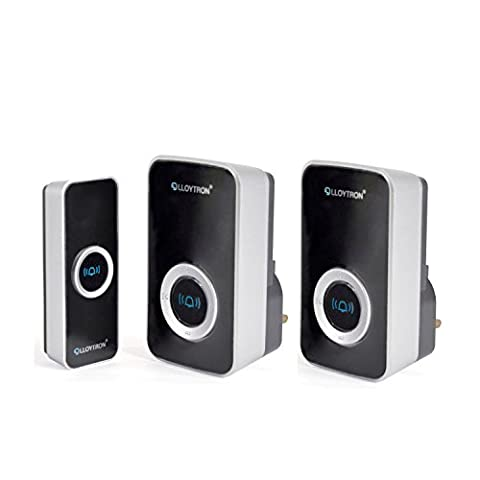 Double Plug-in Chime Wireless Door Bell Cordless 32 Melody Mip System 150m Range Black