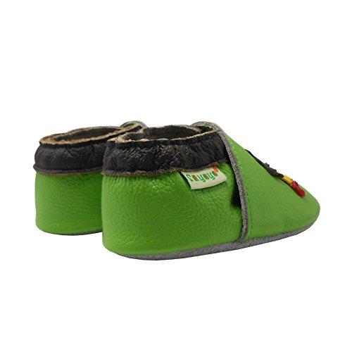 Sayoyo Igel und Pilz Krabbelschuhe Weiches Lederpuschen Babyschuhe(0-6 Monate,Grau) Grün