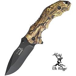 RKS Diffusion Couteau Pliant Nature Chasseur Elk Ridge ER-A164CA Couteau de Poche Camping