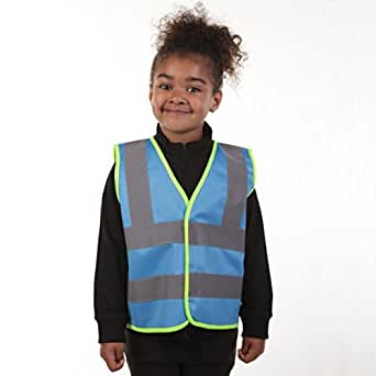 BLUE Childrens Kids, Toddlers & Babies Hi Vis Vest in sizes: 0-1, 2-3, 4-6, 7-9, 10-12yrs (10-12 years, Blue)