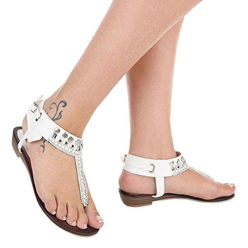 Komfortsandalen Damenschuhe Römersandalen Zehentrenner Schnalle Ital-Design Sandalen / Sandaletten Weiß
