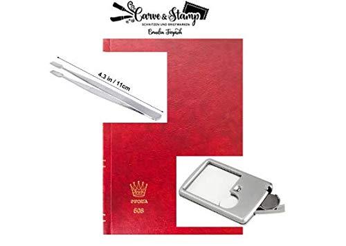 carve-stamp Premium Briefmarkenalbum A6 - inklusive hochwertiger Lupe und Pinzette - optimales Briefmarkenalbum für Sammler