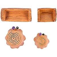 GARNECK 4 Piezas Mini Tocón de Árbol Y Taburetes de Resina Jardín de Hadas Micro Paisaje Micro Bonsai Casa de Muñecas Decoraciones en Miniatura