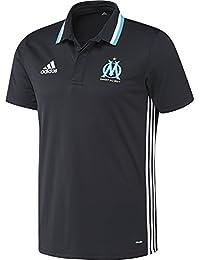 Adidas Olympique de Marseille Polo T-Shirt pour homme Noir/Blanc/Bleu