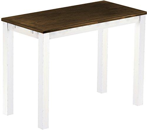 Brasil Meubles Haut 'Rio Classico' Table 150 x 73 cm, Pin Massif, Coloris chêne Vieilli – Blanc