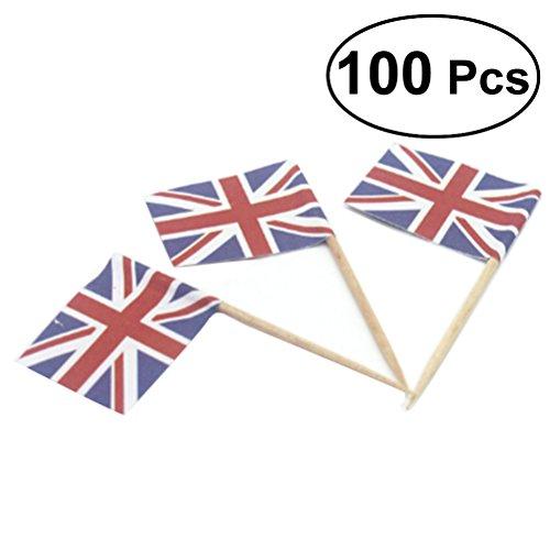luoem Flagge Picks Union Jack Flag Picks UK Flagge Lebensmittel Zahnstocher für kleine Geschenke Geburtstag Hochzeit Baby Dusche National Day Cupcake Zahnstocher 100Stück