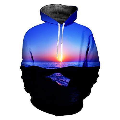 Hoodies Herrenmode Lose Lange Farbe 3D Pullover Druck Sonnenuntergang Sky Hiphop Big Size Kleidungsstück Männer Hoodies Sweatshirts Sunset Sky XXL