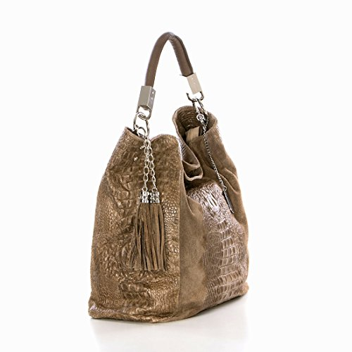 Anna Morellini - Leather Handbag - Made in Italy - 38x14x36 cm - Shopper - cross body - Shoulder Bag - Tote Bag TAUPE (36)
