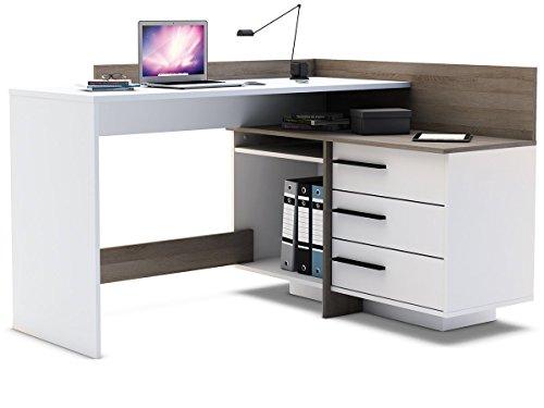 eckschreibtisch thales Eckschreibtisch weiß Eiche Schreibtisch Computertisch Bürotisch Arbeitstisch Thales