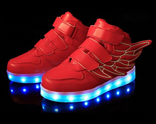 Ake Children LED Light Schuhe USB Charging Flashing Sport Wing Shoes Luminous Sneakers Skidproof Red