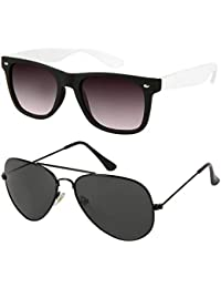Xforia Polarized Stylish Wayfarer& Aviator Sunglasses For Men & Women Combo Of 2 (DX-FLX- 491 | Brown& Black |...