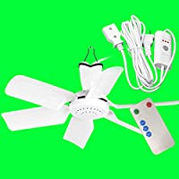 Liuyu · Ceiling Fan Dormitory Bed Mosquito Net Mute Small Ceiling Fan Home Small Mini Fan Student Five-leaf Micro Fan Safe, Silent, Energy-saving And Energy-saving Standard Wiring Length 1.5m + 3M Extension Line + Remote Control / Timing ( Size : Six leaves )