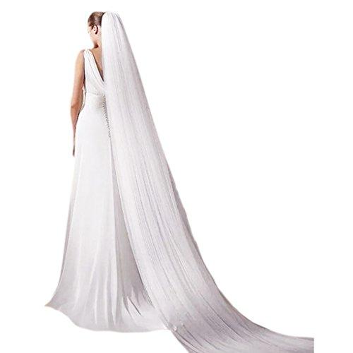 Dabixx Brautschleier, Hochzeit Bridal 3 Meter 3 Layer Long Veil mit Kamm Elegant Wedding Accessories White