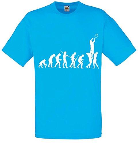 Evolution of Rugby, Ball Sports inspirert Mann Gedruckt T-Shirt - azurblau/weiß XXL= 122/127 cm (Männer Rugby)