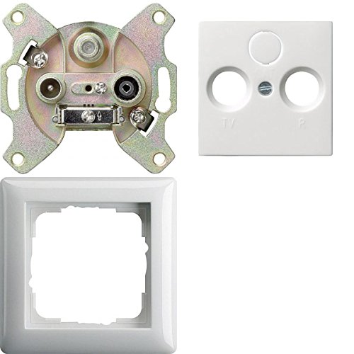 Preisvergleich Produktbild Komplett-Set Gira Standard 55 Rahmen, 1-fach - Reinweiß, glänzend mit Abdeckung, 3-fach, Antennendose + Einsatz, Antennendose, R -GIRA- -weiß-