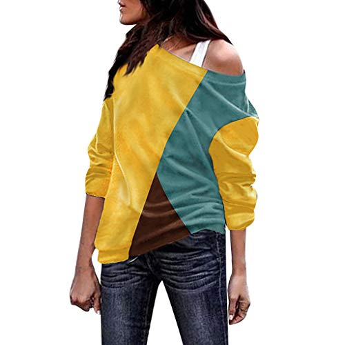 OIKAY Shirts Damen Casual trägerlos Spleißen Farbe Kollision Lange Ärmel lose Tops Bluse Basic T Shirt Damen(Gelb,EU-42/XL)