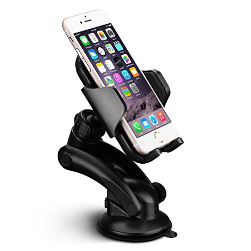 Supporto per Auto Cellulari Culla Regolabile Car Mount per Auto Universale, Supporto del Cellulare per Cruscotto Dashboard Parabrezza, Compatibile con iPhone 7/6S/6 Plus/6/5S/SE/5, Galaxy S7/S6 Edge/S5, Note 6/5/4/3, Huawei Xiaomi LG Smartphone, Nero