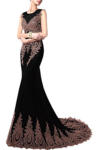 Bbonlinedress Damen Lang Meerjungfrau Kleid Abendkleider Mit Schleppe Schwarz 34 (Meerjungfrau Kleid Strapless)