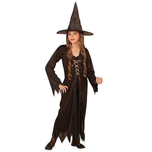 Widmann 00437 - Kinderkostüm Hexe, Kleid mit Hut, Gröߟe 140, schwarz (Böse Zauberin Kostüm)