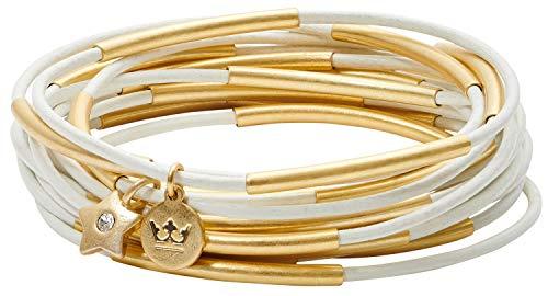 SENCE Copenhagen Damen Armband Gold - Secret Garden 2019 Serie Urban Gipsy Bracelet Light White Leather Matt Gold Vergoldet - BK889 -