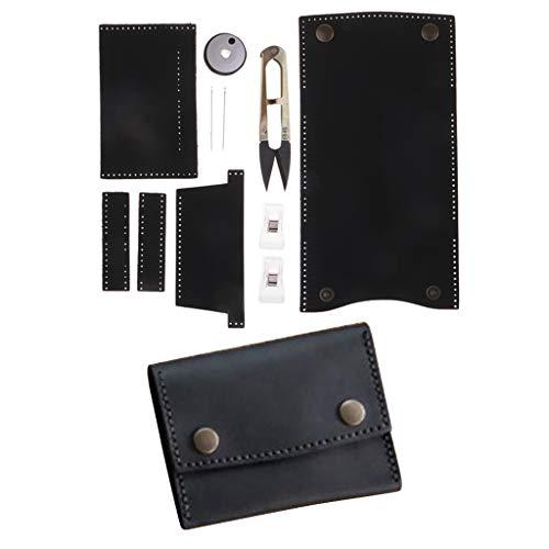 Herren Schwarz Leder Hand Nähen (B Baosity Vintage DIY Leder Geldbeutel zum Selber Nähen, Kartenbeutel Kartenetui Handwerk - Schwarz)